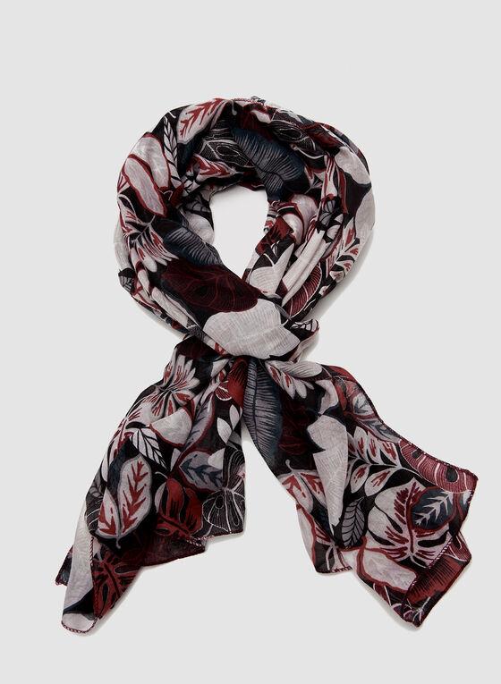 Foulard imprimé feuilles, Noir, hi-res