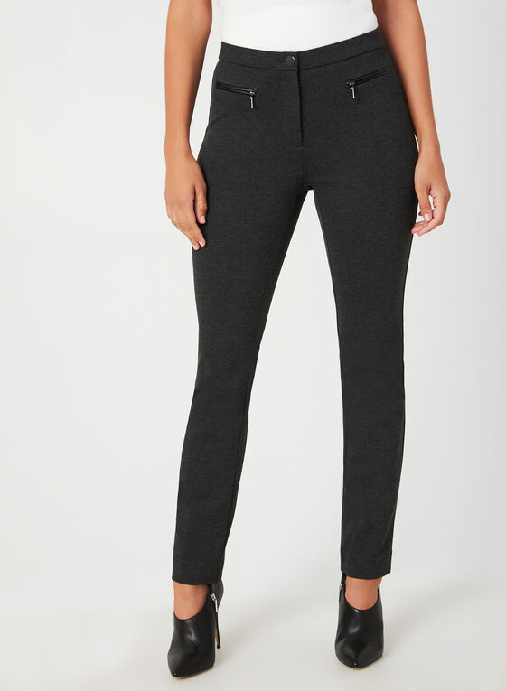 Pantalon coupe signature à détails zippés, Gris