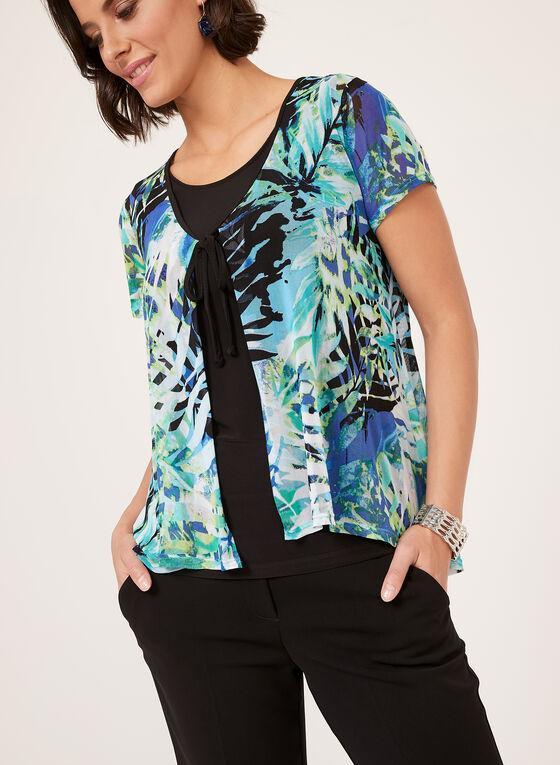 Haut superposé à motif tropical et lien à nouer, Bleu, hi-res