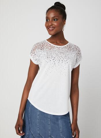 T-shirt avec jeu de transparence, Blanc cassé, hi-res,  printemps été 2019, manches courtes