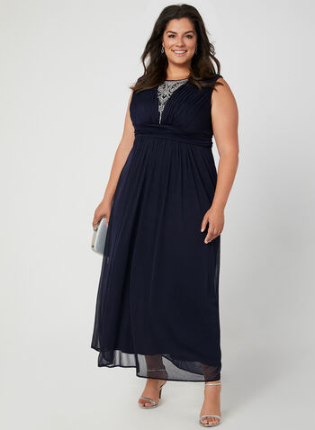 Sleeveless Pleated Dress, Blue, hi-res