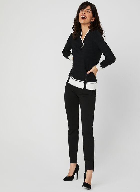 Pull à col V en tricot texturé , Noir, hi-res