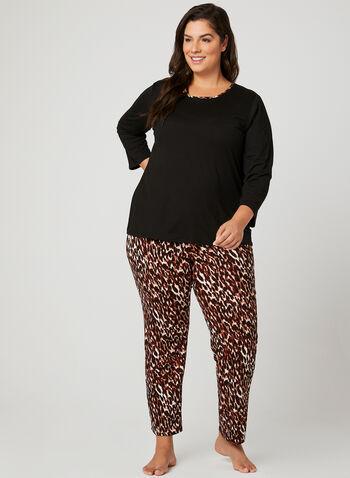 Pyjama 2 pièces motif léopard, Brun, hi-res