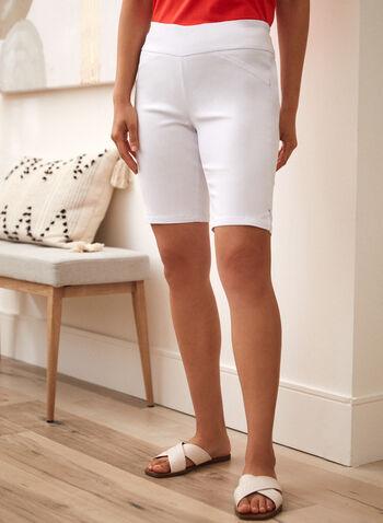 Charlie B - Pull On Bermuda Shorts, White,  spring summer 2021,shorts, bermuda shorts, capris, pull on, stretch, slim leg, side slits, charlie b