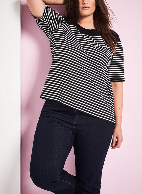 T-shirt à rayures et boutons épaules, Noir, hi-res