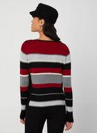 Stripe Print Knit Sweater , Red