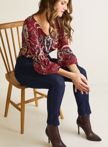Paisley Top With Puffed Sleeves, Black,  fall winter 2020, made in Canada, top, blouse, V-neck, flowy, holiday, paisley, print