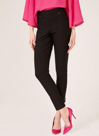 Pantalon pull-on à jambe étroite et détail œillet, Noir, hi-res