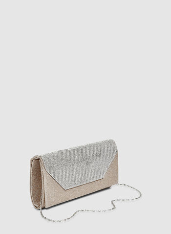 Glitter Clutch, Gold, hi-res,  evening clutch, crystals, glitter, fall 2019, winter 2019