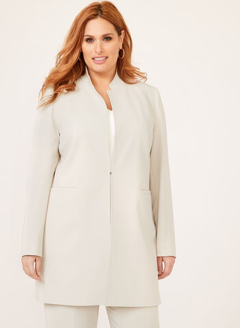 Louben - Long Tailored Blazer, Off White, hi-res