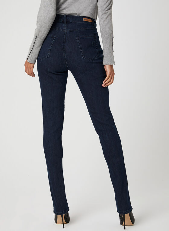 Simon Chang – Crystal Detail Straight Leg Jeans, Blue, hi-res