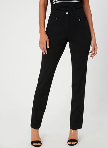 Signature Fit Straight Leg Pants , Black, hi-res,  bi-stretch, stretchy, high rise, trouser, tailored, workwear, fall 2019, winter 2019
