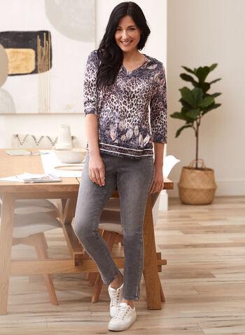 Side Slit Slim Leg Jeans, Grey,  jeans, denim, pants, slim leg, 5 pockets, belt loops, side slit, fall winter 2021