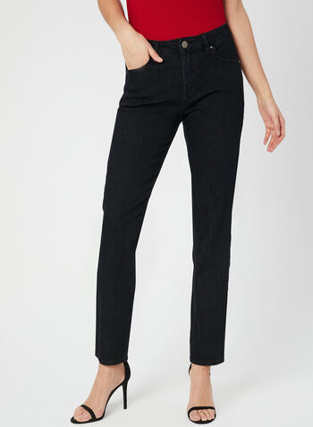 Simon Chang - Signature Fit Straight Leg Jeans, Black,  denim, embroidery, spring 2019