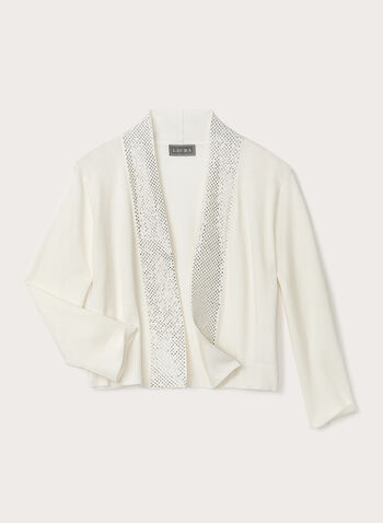 ¾ Sleeve Bolero With Detailed Crystals, Off White, hi-res