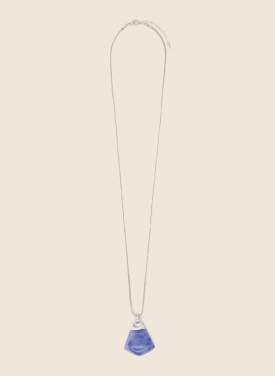 Geometric Stone Pendant Necklace, Blue