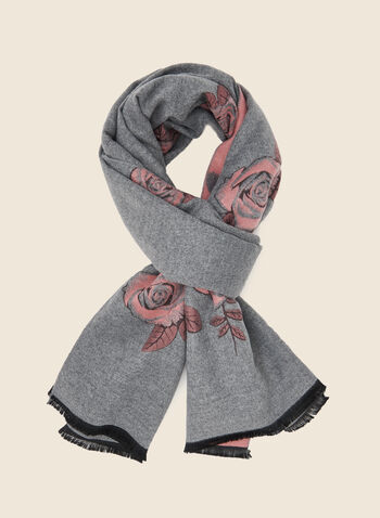 Floral Motif Reversible Scarf, Grey,  scarf, floral, acrylic, reversible, fringe, fall winter 2020