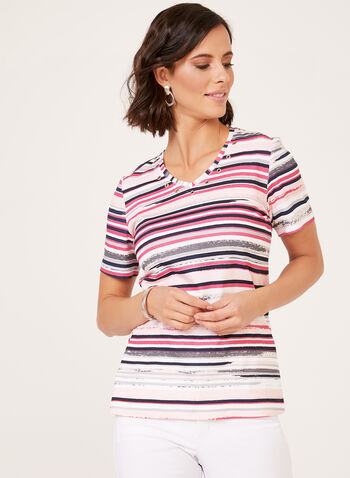 Stripe Print T-Shirt With Rivet Detail , Blue, hi-res