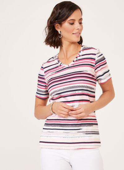 Stripe Print T-Shirt With Rivet Detail