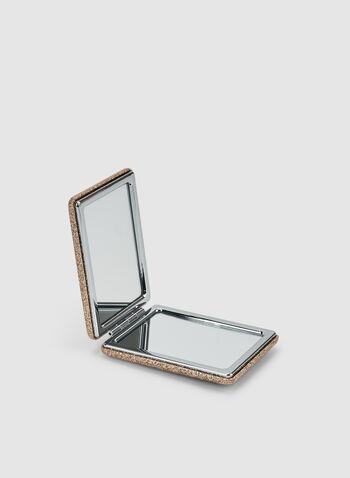 Glitter Compact Mirror, Gold,  mirror, glitter, rectangular, fall 2019