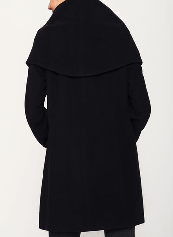 Shawl Neck Topper Coat , Black, hi-res