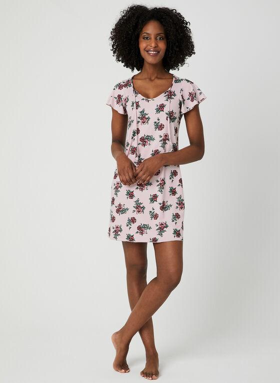 Chemise de nuit motif floral, Rose