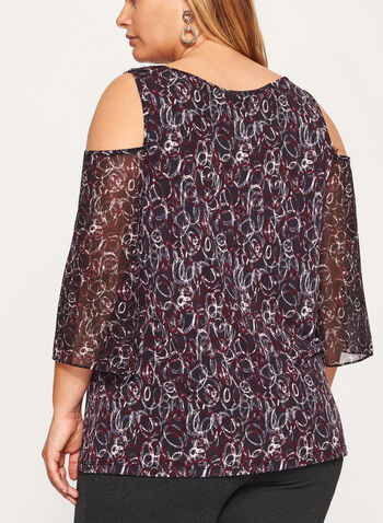 Abstract Print Cold Shoulder Top , Black, hi-res