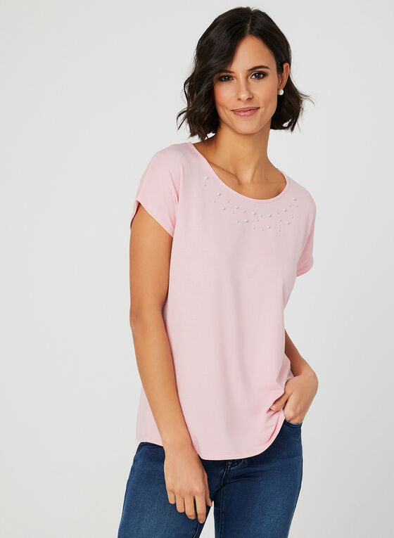 Drop Shoulder T-Shirt, Pink, hi-res