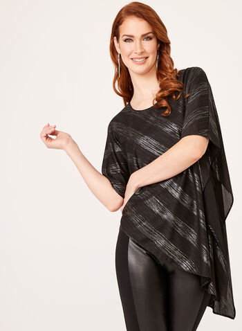 Asymmetric Metallic Stripe Poncho, Black, hi-res