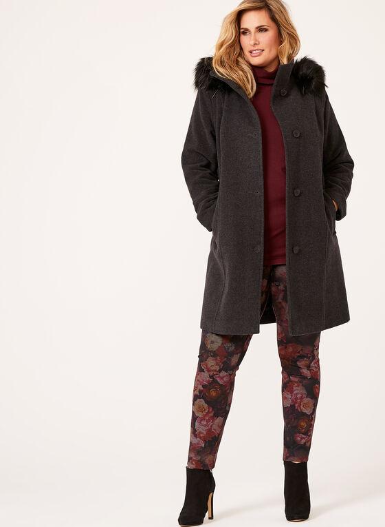 Manteau en laine et cachemire et fausse fourrure, Gris, hi-res