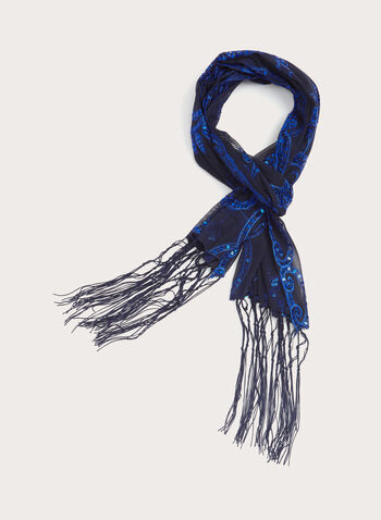 Fringed Sequin Scarf, Blue, hi-res