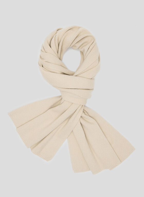 Ribbed Knit Scarf, Off White, hi-res
