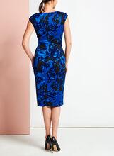 Floral Print Scuba Midi Dress, Blue, hi-res
