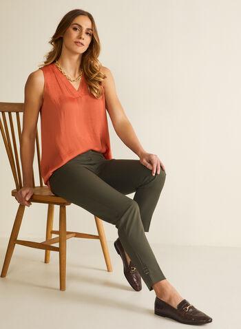 Sleeveless V-Neck Blouse, Orange,  blouse, sleeveless, v-neck, high low, spring summer 2020