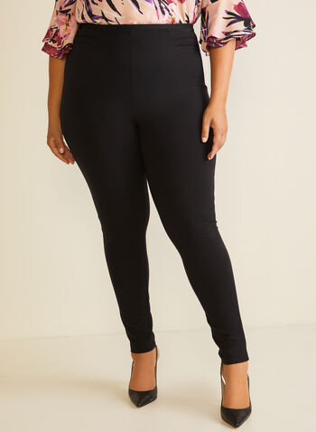 Pintuck Detail Leggings, Black,  legging, pintuck, pull-on, ankle, slim leg, fall winter 2020
