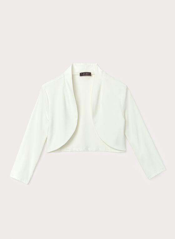 Open Front ¾ Sleeve Bolero , Off White