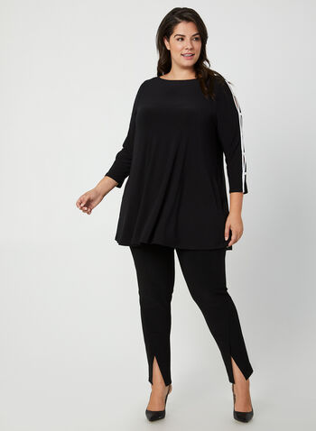 Joseph Ribkoff - Pearl Detail Jersey Tunic, Black,  canada, 3/4 sleeves, pearls, top, blouse, tunic, jersey top, jersey tunic, Joseph Ribkoff, comfortable, fall 2019, winter 2019