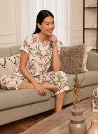 Haut de pyjama à motif floral, Blanc