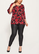 Leaf Print Jersey Top , Black, hi-res