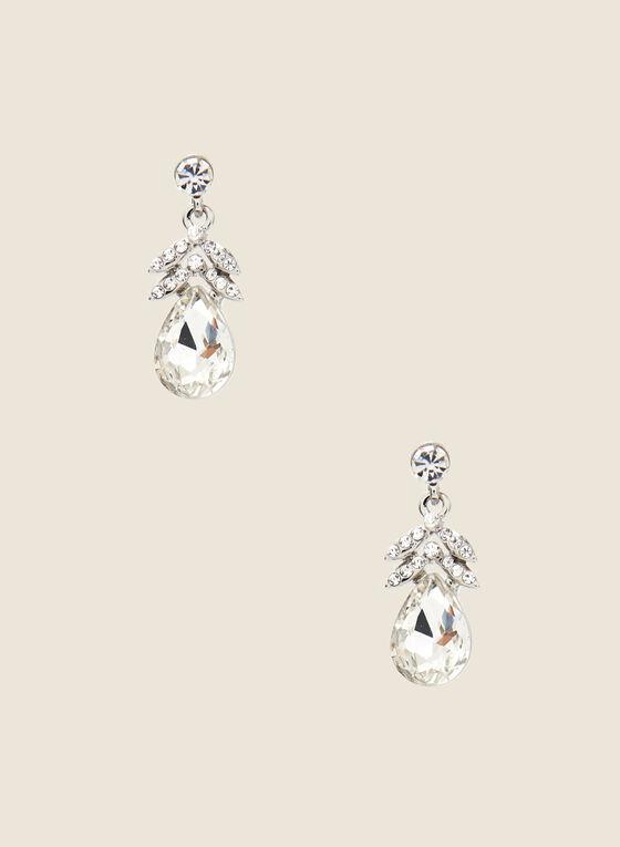 Teardrop Stone Dangle Earrings, Silver
