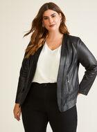 Zipper Detail Faux Leather Jacket, Black