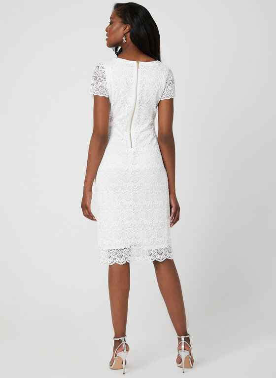 Floral Lace Midi Dress, White