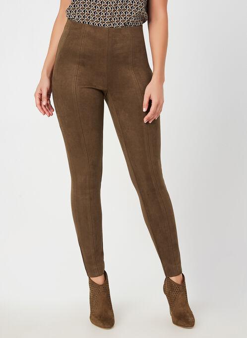 Faux Suede Slim Leg Pants, Brown, hi-res