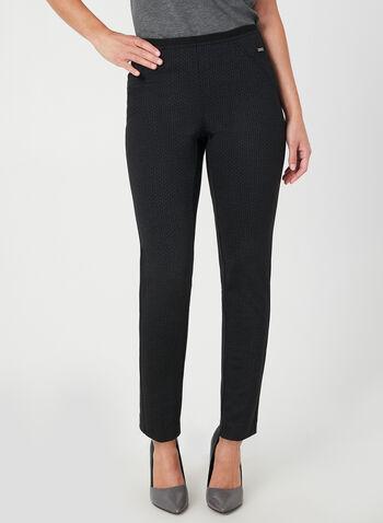 Pantalon coupe cité à motif géométrique, Noir, hi-res,  pantalon, pull-on, cité, jambe étroite, géométrique, automne hiver 2019