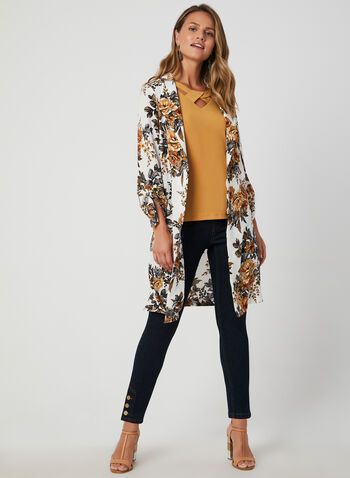 Floral Print Duster Jacket, White, hi-res,  duster, textured, ¾ sleeves, 3/4 sleeves, lapel collar, fall 2019, winter 2019, long jacket