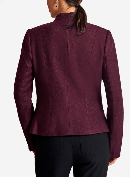 Zipper Trim One-Button Wool Jacket, Red, hi-res