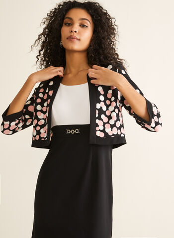 Dress & Polka Dot Cardigan, Black,  dress, cardigan, set, ensemble, polka dot, buckle, sleeveless, 3/4 sleeves, contrast, open front, spring summer 2020