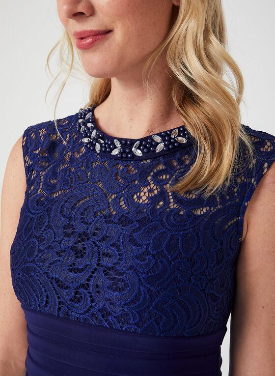 Illusion Lace Shutter Dress, Blue, hi-res