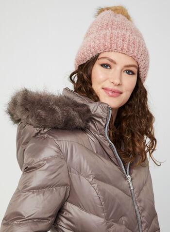 Manteau matelassé à capuchon amovible, Violet, hi-res,  manteau, matelassé, duvet, plumes, capuchon, fausse fourrure, automne hiver 2019