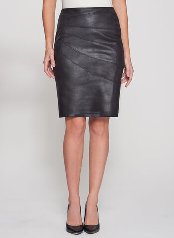 Cracked Faux Suede Pencil Skirt, , hi-res